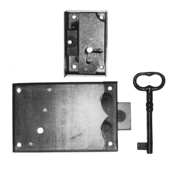 Aufschraubschloss aus Eisen, D 115 mm rechts der Serie AS019 Bild1