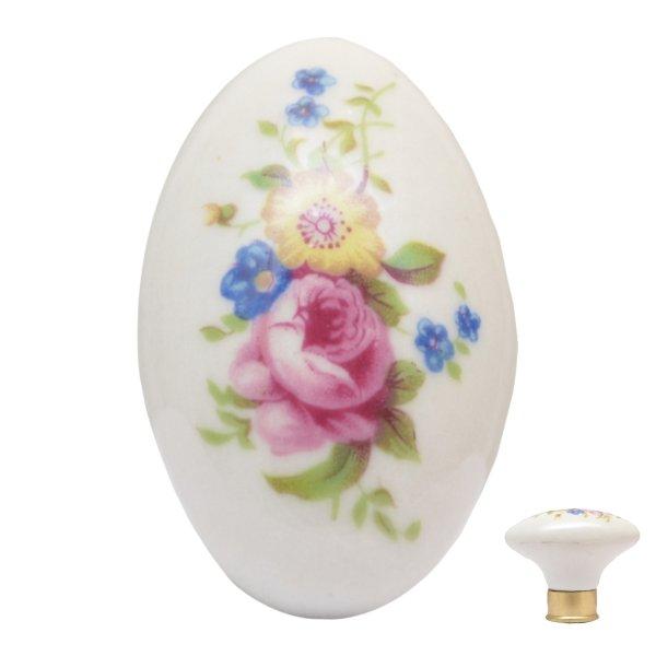 Porzellanknopf verschiedene Blumen oval mit Messingsockel. 41x24 mm Bild1