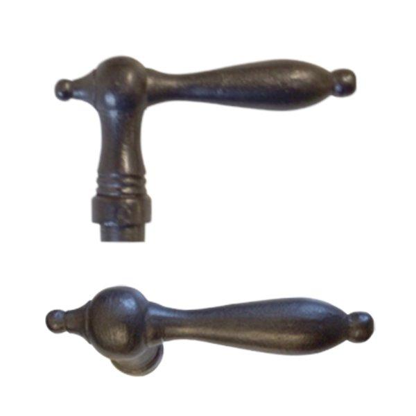 Türdrücker - Griffpaar, Eisen geschmiedet und geschwärzt, Biedermeierzeit, ländlich, Grifflänge 140mm, Art. Nr.: 10-606H Bild1