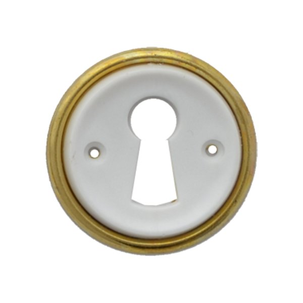 Rund mit Schlüsselloch AD001Art Deco Maße: D32 mm Messing glänzend/Weiß Bild1