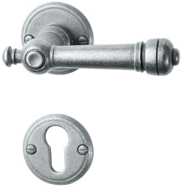 Rosettengarnitur in Eisen thermopatiniert ® (PZ). Rosette: 53 mm, Griff: 115 mm Bild1
