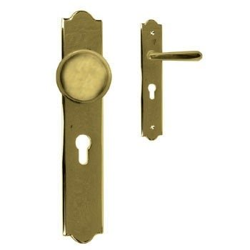 Sicherheitsgarnitur in Messing, Knauf fest (PZ). Dist. 92 mm, DIN LI 260x48 mm Bild1
