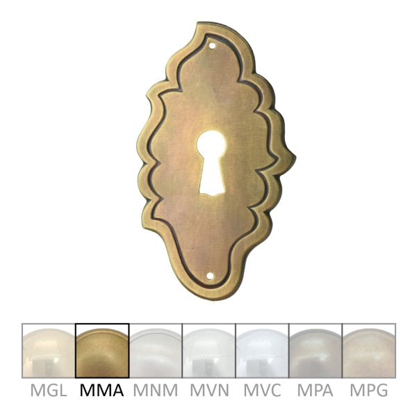 Rokoko Schlüsselschild Hochkant mit Schlüsselloch, Messing  matt, 50 x 85 mm der Serie RK003 Bild1