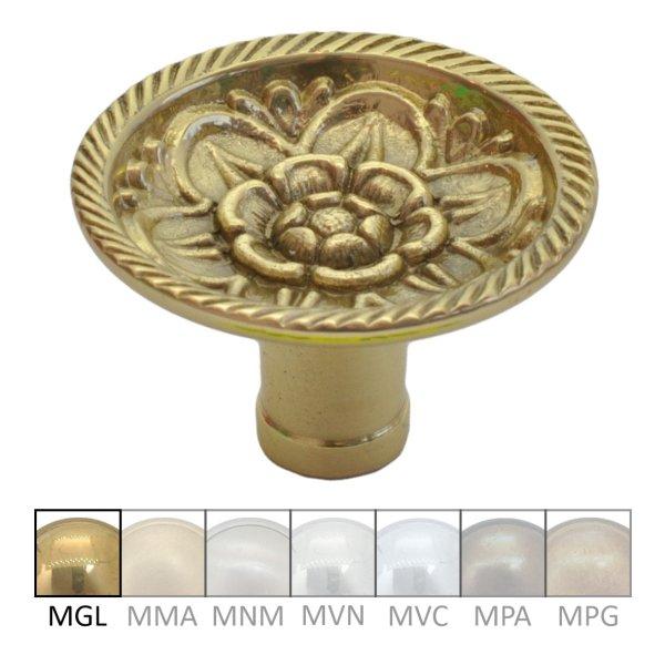 Möbelknopf in Messing glänzend mit Schutzlack. D: 40 mm Bild1