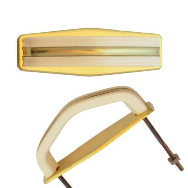 Bügelgriffe AD001Art Deco Maße: 75 mm x 25 mm Messing glänzend/Elfenbein Bild1