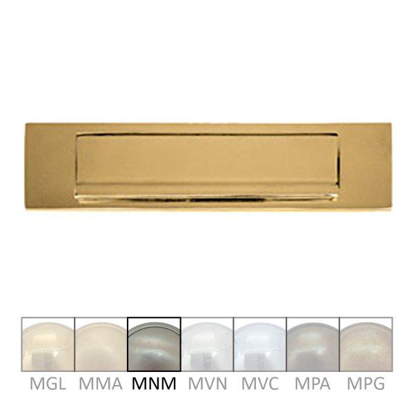 Briefklappe Material: Messing für Wohnungseingangstüre außen Außenmaße: L 325 mm x H 80 mm x T 15 mm Einwurfmaße: L 247 x H 45 mm Der Serie BK010 Bild1