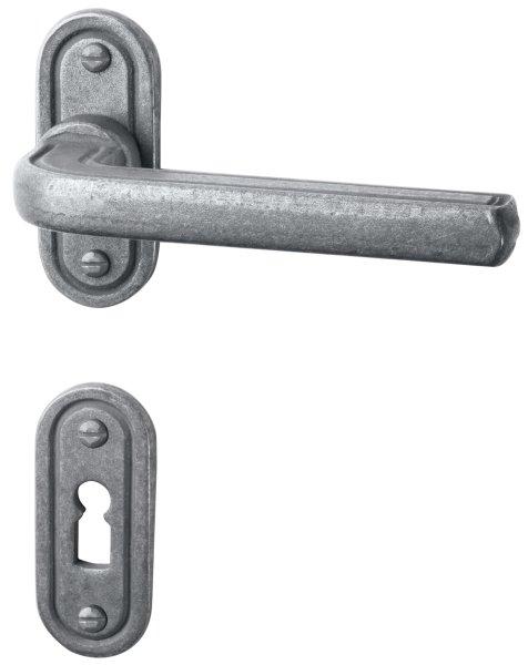 Rosettengarnitur in Eisen thermopatiniert ® (PZ). Rosette: 48 mm, Griff: 110 mm Bild1