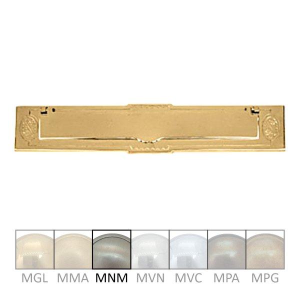 Briefklappe Material: Messing für Wohnungseingangstüre außen Außenmaße: L 315 mm x H 65 mm x T 10 mm Einwurfmaße: L 247 x H 36 mm Der Serie BK006 Bild1
