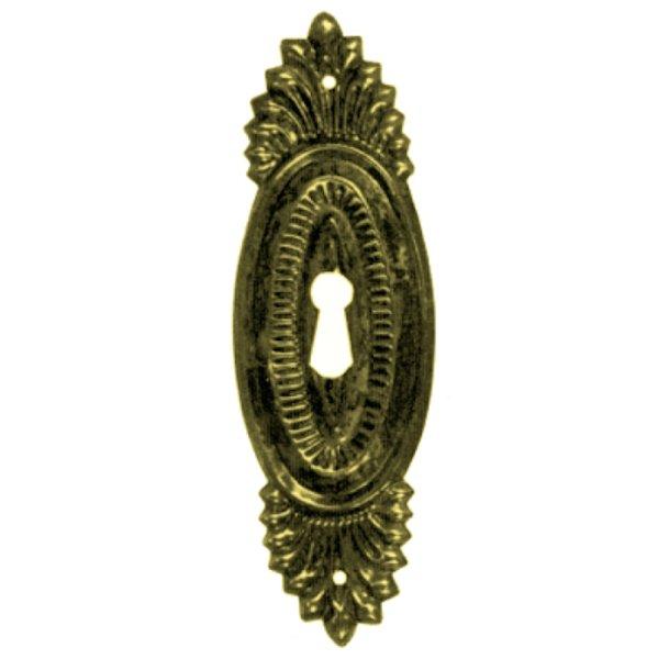 Klassizismus Möbelschild geprägt Messing MGL  43 x 135 mm mit Schlüsselloch der Serie KL049 Bild1