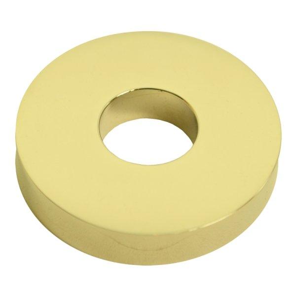 SicherheitTürgriffrosette  außen D : 49 mm  Messing glänzend mit Schutzlack.Wagenfeld. Bild1