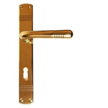 Zimmertürgarnitur in Messing poliert (BB). Dist. 72 mm, 225x33 mm Bild1