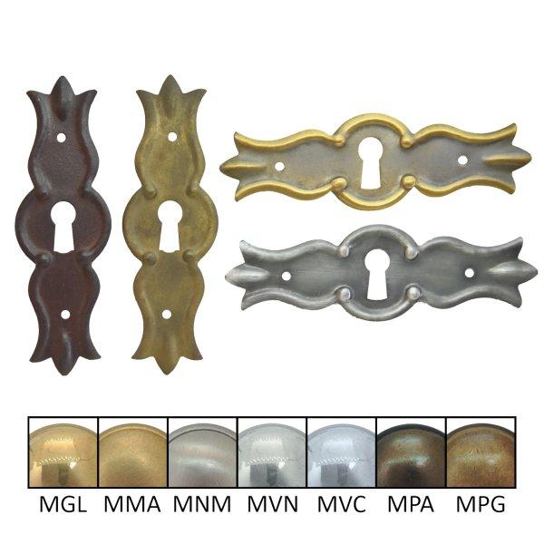 Schlüsselschild quer mit Schlüsselloch, Messing matt Bild1