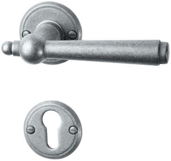 Rosettengarnitur in Eisen schwarz passiviert (PZ). Rosette: 53 mm, Griff: 125 mm Bild1