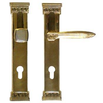 Jugendstil - Sicherheitstürgarnitur, Messing poliert, PZ 92 mm, DIN Links H x B: 263 x 52 mm inkl. Zubehör Bild1