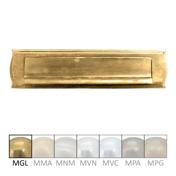 Briefklappe Material: Messing für Wohnungseingangstüre außen Außenmaße: L 270 mm x H 65 mm x T 15 mm Einwurfmaße Briefklappe: L 213 x H 37 mm Der Serie BK011 Bild1