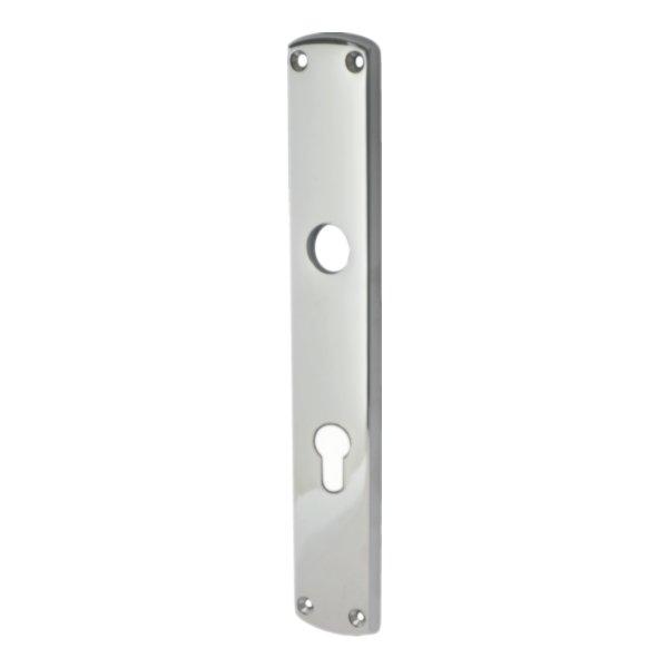 Wohnungseingangstürschild in Messing verchromt mit Schutzlack. Säbel. Dist. 72 mm Bild1