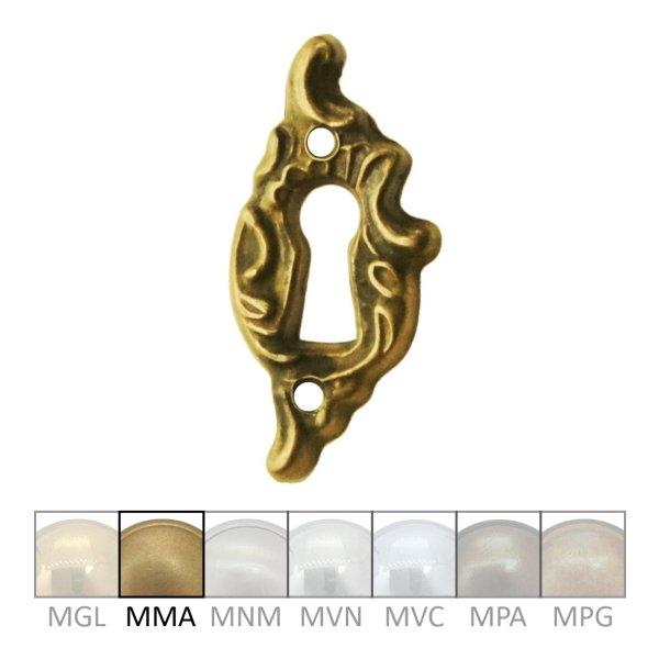 Rokoko Schlüsselschild Hochkant mit Schlüsselloch, Messing matt, 20 x 45 mm der Serie RK014 Bild1