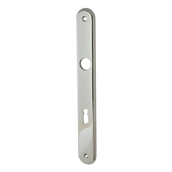 Zimmertürschild  in Messing vernickelt mit Schutzlack . Modell Elegant Distanz: 72 mm Bild1