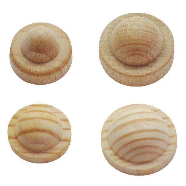 Knopfauflage in verschiedenen Holzarten und Durchmessern der Serie AH082 Bild1