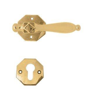Rosettengarnitur in Messing (PZ). Rosette: 50 mm, Griff: 115 mm Bild1