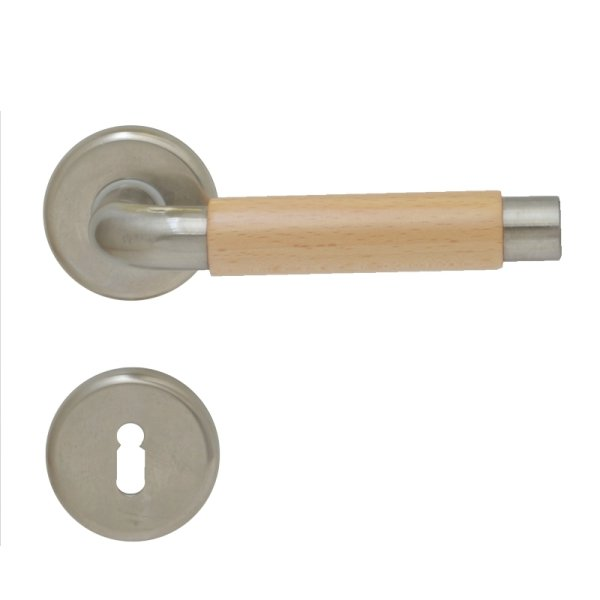 Rosettengarnitur in Edelstahl vernickelt matt gebürstet (BB). Rosette: 52 mm, Griff: 133 mm Bild1