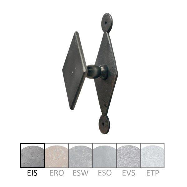 Haustürknauf (fest) auf Rosette in Eisen. 75x45 mm Bild1