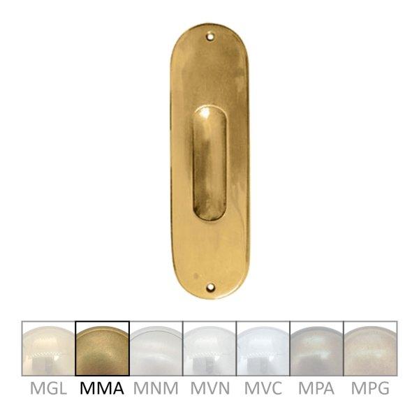 Schiebetürgriffmuschel Material: Messing Hohe x Breite: 170 mm x 50 mm Materialstärke ( Auflage ): 5 mm Einbautiefe: 7 mm Gesamtauflage: 12 mm Bild1