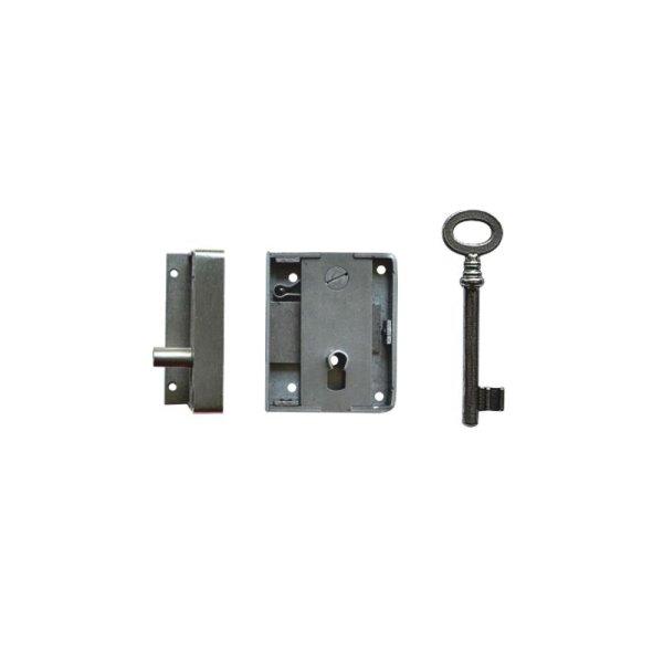 Aufschraubschloss AS010 Eisen gebürstet Dornmaß: D30 mm Bild1