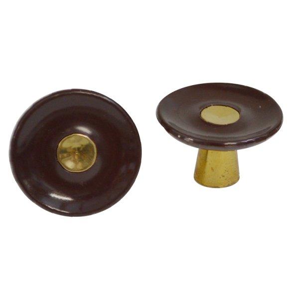 Möbelknopf Kunststoff AD001 Maße: D32 mm Messing glänzend/Braun Bild1
