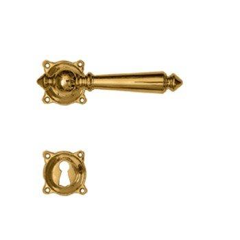 Rosettengarnitur in Messing (BB). Rosette: 45x45 mm, Griff: 125 mm Bild1