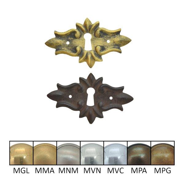 Schlüsselschild 50 x 85 mm quer mit Schlüsselloch, Messing matt Bild1