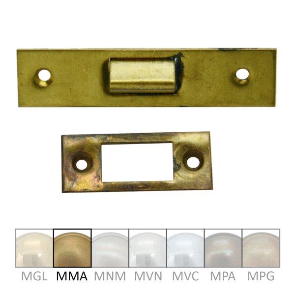 Türschnapper aus Messing mit passendem Gegenstück, Länge 60 mm Bild1
