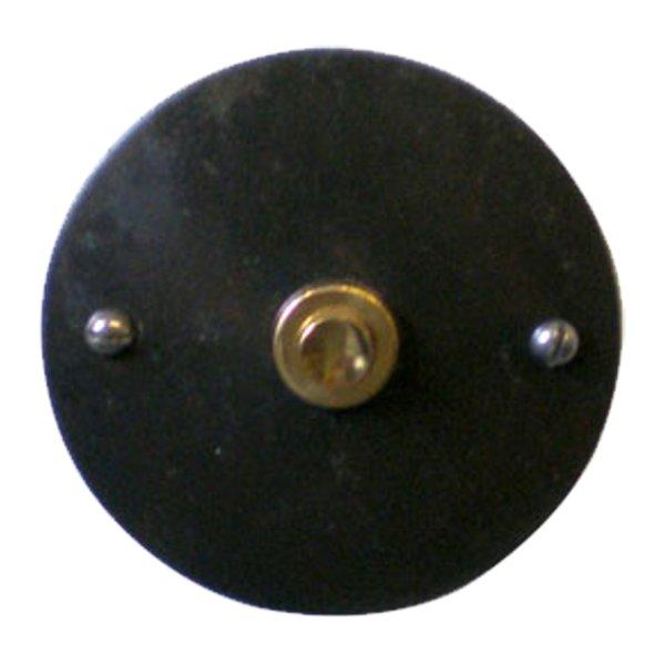 Klingelrosette in Eisen geschwärzt mit Messing. D: 80 mm Bild1