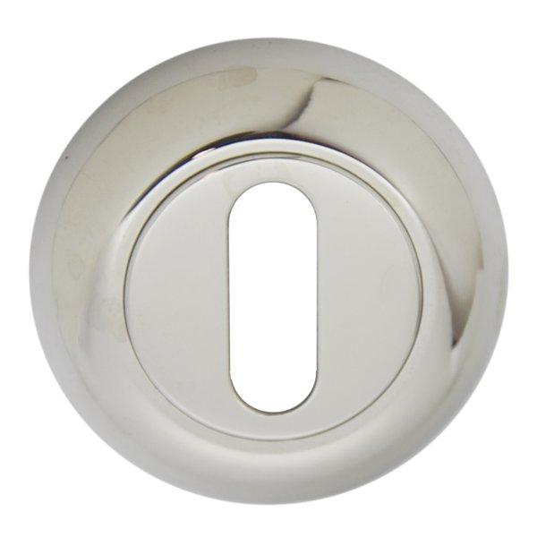Schlüsselrosette mit Buntbart (BB2)-Lochung Messing vernickelt mit Schutzlack, Durchmesser: 48mm. Kira Bild1