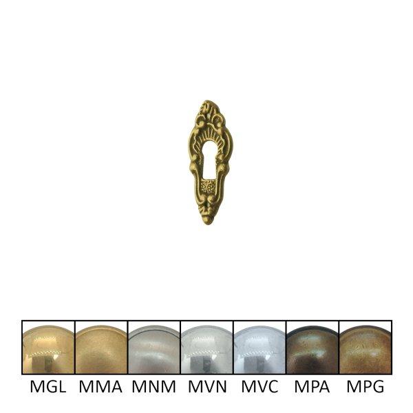Rokoko Schlüsselschild Hochkant mit Schlüsselloch, Messing glänzend, 20 x 55 mm der Serie RK012 Bild1