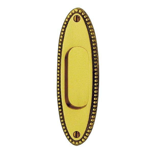 Schiebetürgriffmuschel in Messing. 150x45 mm Bild1