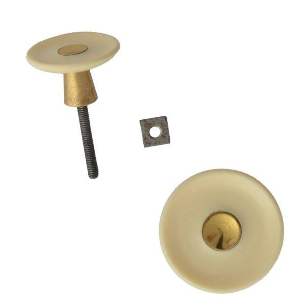 Möbelknopf Kunststoff AD001 Maße: D38 mm Messing glänzend/Elfenbein Bild1