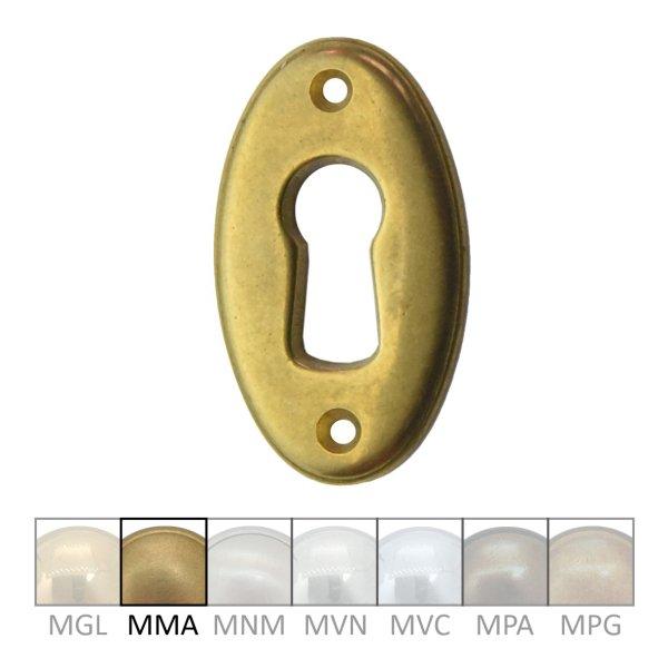 Möbelschild mit Schlüsselloch in Messing matt 21x37 mm Bild1