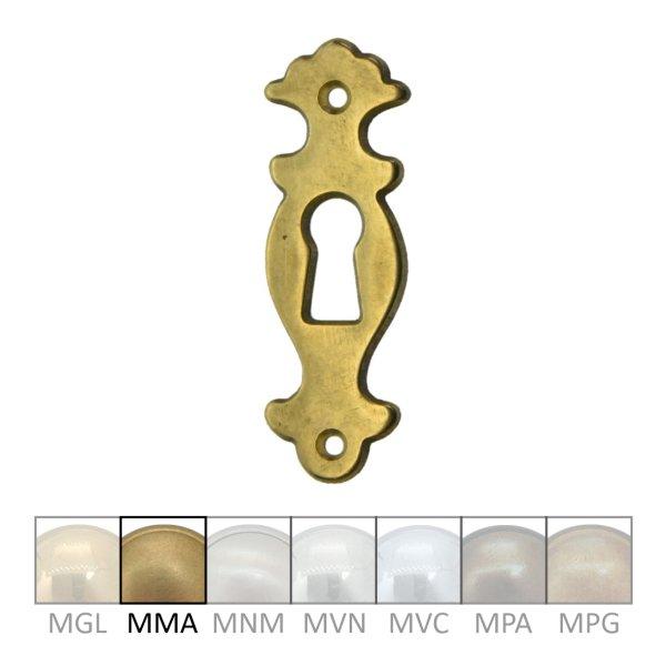 Rokoko Schlüsselschild Hochkant mit Schlüsselloch, Messing matt, 20 x 60 mm der Serie RK013 Bild1