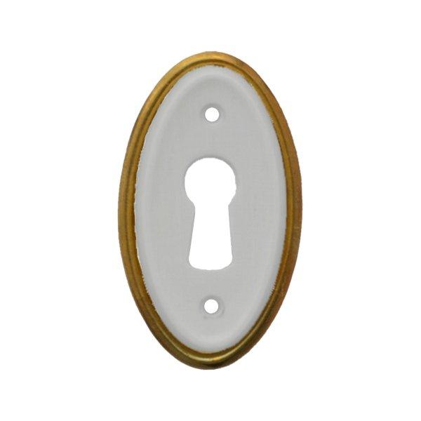 Hochkant mit Schlüsselloch AD001Art Deco Maße: 28 mm x 47 mm Messing glänzend/Weiß Bild1