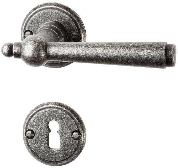 Rosettengarnitur in Eisen schwarz passiviert (BB). Rosette: 53 mm, Griff: 125 mm Bild1