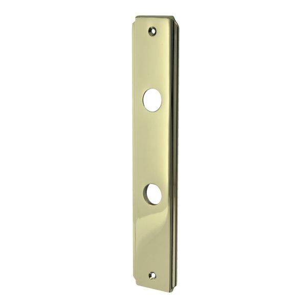 Badezimmertürschild Dist. 78 mm WC, Messing glänzend mit Schutzlack. Seitliche Rille.  Bild1