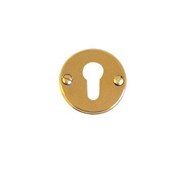 Schlüssellochrosette Messing glänzend mit Profilzylinder-Lochung Durchmesser: 50 mm der Serie TR108 Bild1