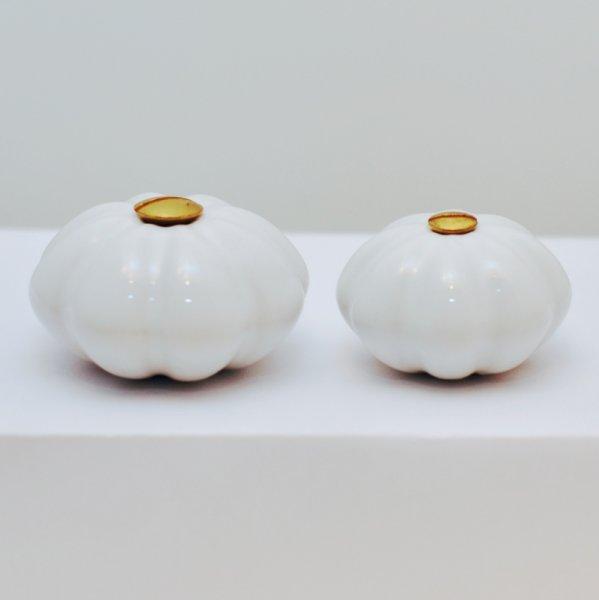 Möbelknopf, Porzellan,altweiß oval, Messingschraube Bild1