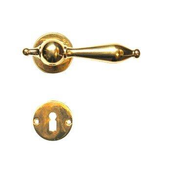 Rosettengarnitur in Messing (BB). Rosette: 50x50 mm, Griff: 125 mm Bild1