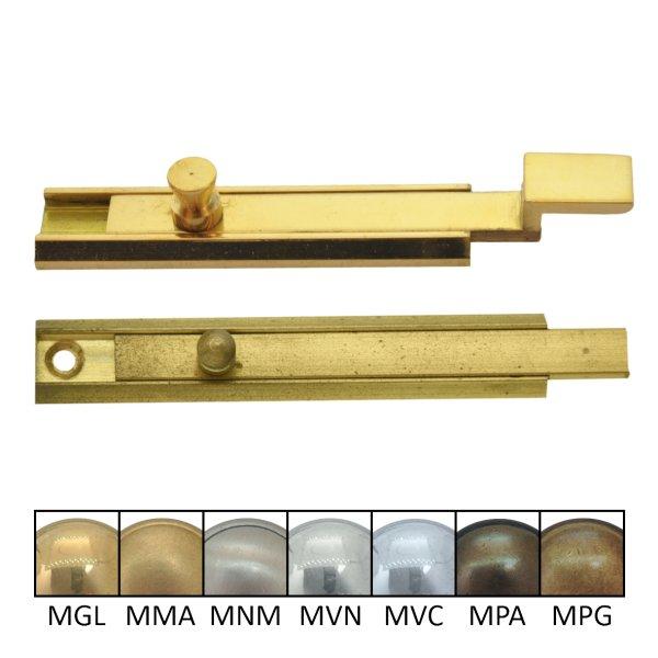Schieberiegel Möbelriegel gekröpft 70mm - Messing glänzend der Serie SR003 Bild1