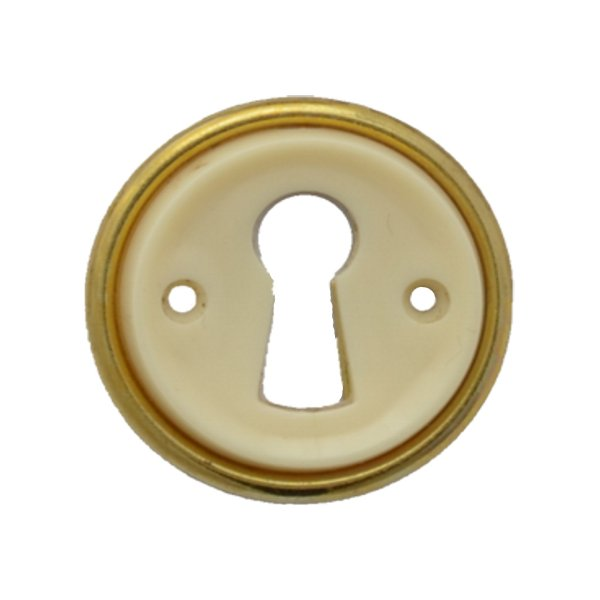 Rund mit Schlüsselloch AD001Art Deco Maße: D32 mm Messing glänzend/Elfenbein Bild1