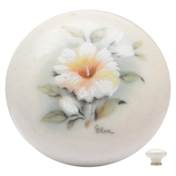 Porzellanknopf, altweiß, Messingsockel Bild1