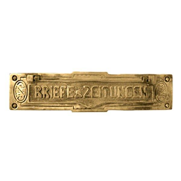 Briefklappe Material: Messing für Wohnungseingangstüre außen Außenmaße: L 228 mm x H 66 mm x T 12 mm Einwurfmaße: L 160 x H 22 mm Der Serie BK004 Bild1