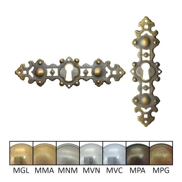 Historismus Möbelschild geprägt Messing Schlüsselloch der Serie HI029 Bild1